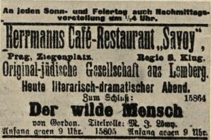 המודעה על הצגת Der Wikde Mensch