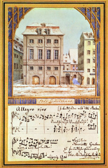 XZL151530 The Leipzig Gewandhaus with a piece of music by Felix Mendelssohn (1809-47) (w/c on paper) by German School, (19th century) watercolour on paper Private Collection German, out of copyright